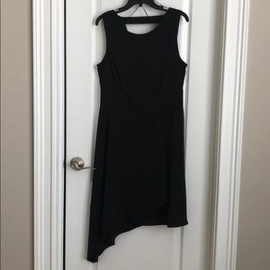 Donna Morgan black asymmetric dress.
